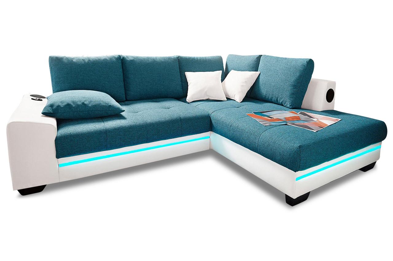 Bett Sofa Kombination : ... Polsterecke Nikita mit BETT, LED und SOUND - Stoff Sofa Couch Ecksofa