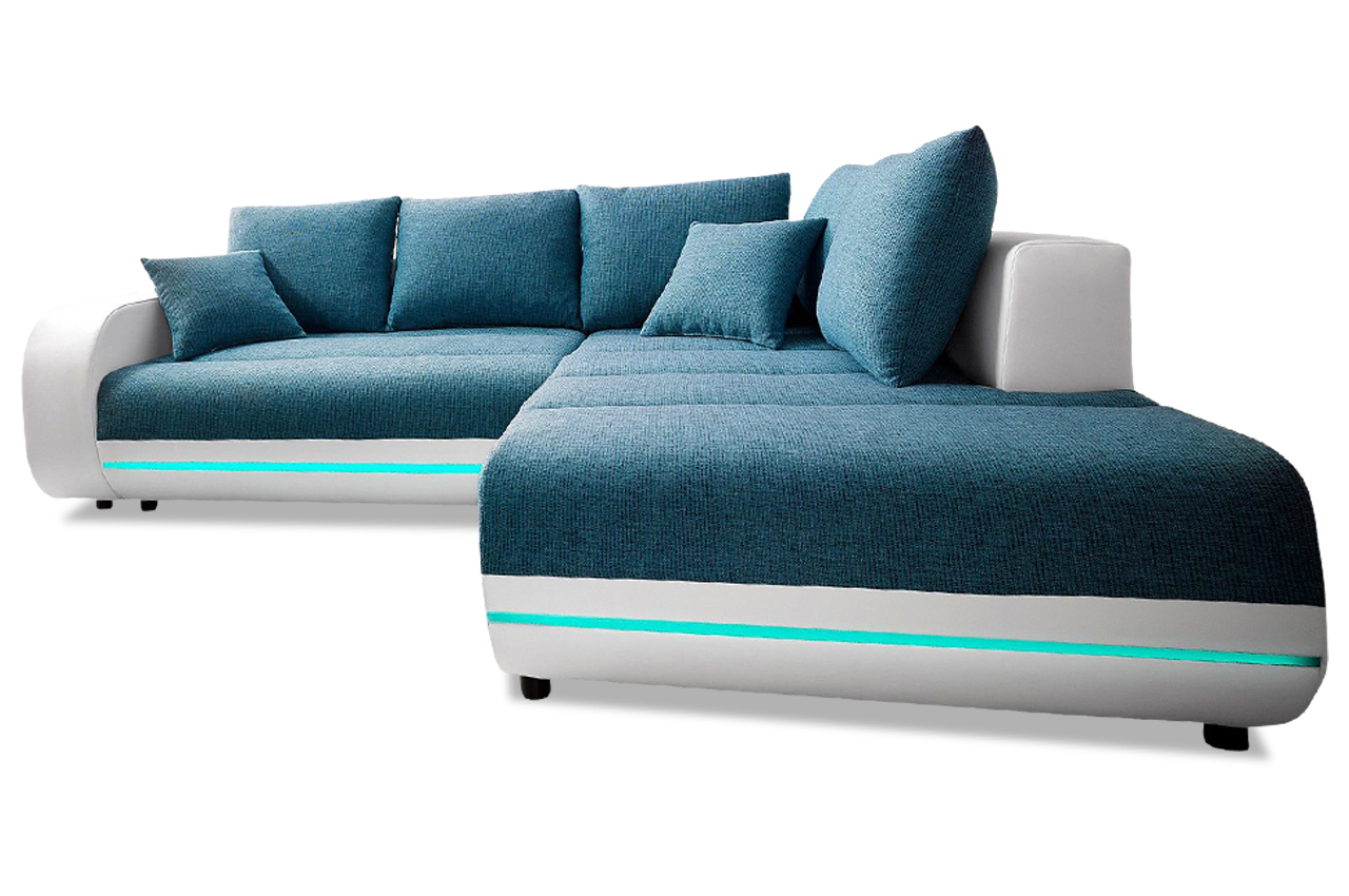 ecksofa xl trento mit led und sound blau sofas zum halben preis. Black Bedroom Furniture Sets. Home Design Ideas