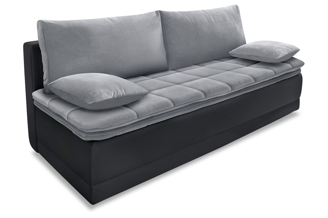 schlafsofa curly mit schlaffunktion grau mit boxspring. Black Bedroom Furniture Sets. Home Design Ideas