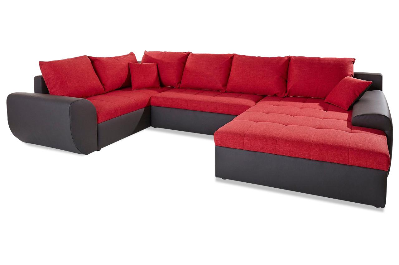 wohnlandschaft mit schlaffunktion rot sofas zum. Black Bedroom Furniture Sets. Home Design Ideas