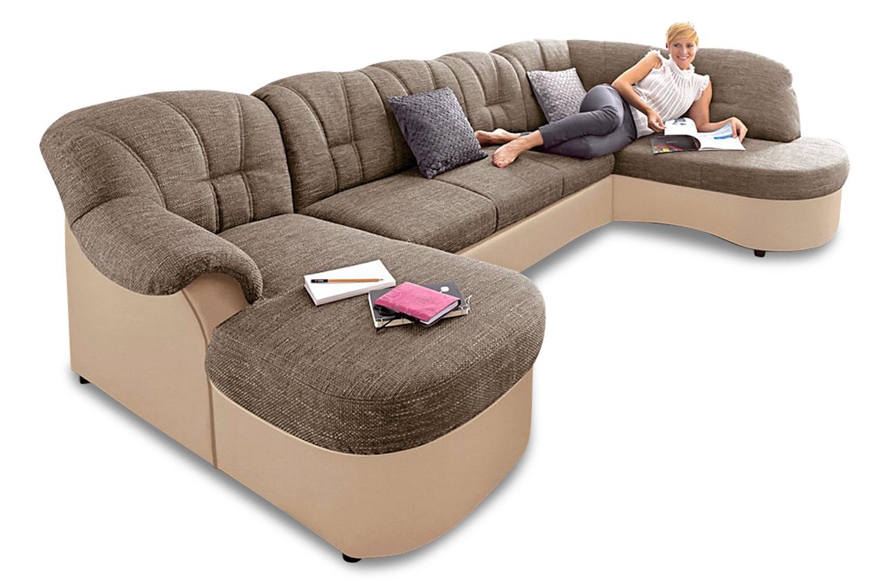 Wohnlandschaft flores mit bett stoff sofa couch ecksofa for Wohnlandschaft bett