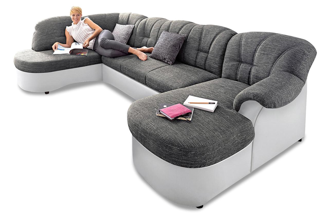 wohnlandschaft flores grau sofas zum halben preis. Black Bedroom Furniture Sets. Home Design Ideas