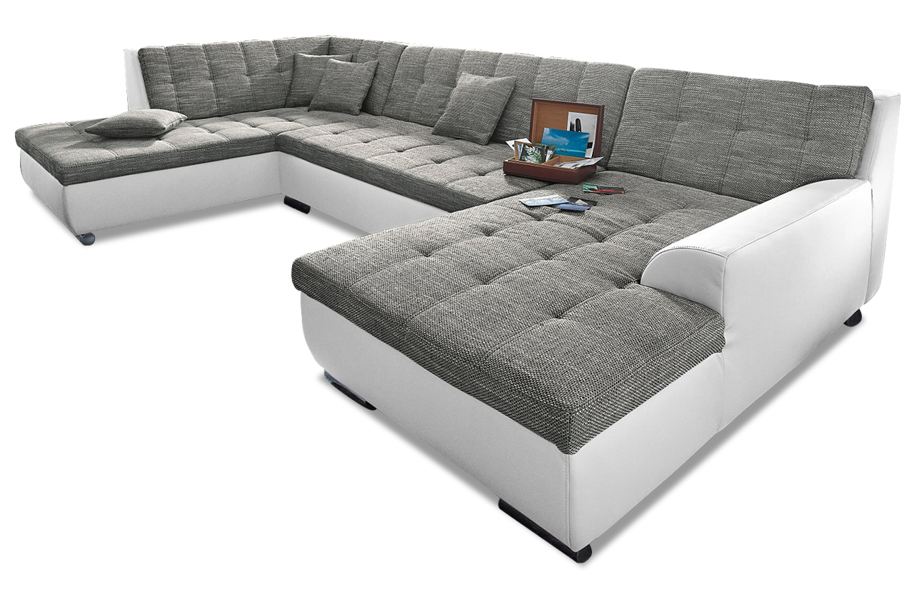 Wohnlandschaft treviso mit schlaffunktion grau sofa for Wohnlandschaft zum schlafen