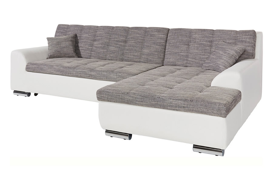 ecksofa treviso mit schlaffunktion grau stoff sofa couch. Black Bedroom Furniture Sets. Home Design Ideas