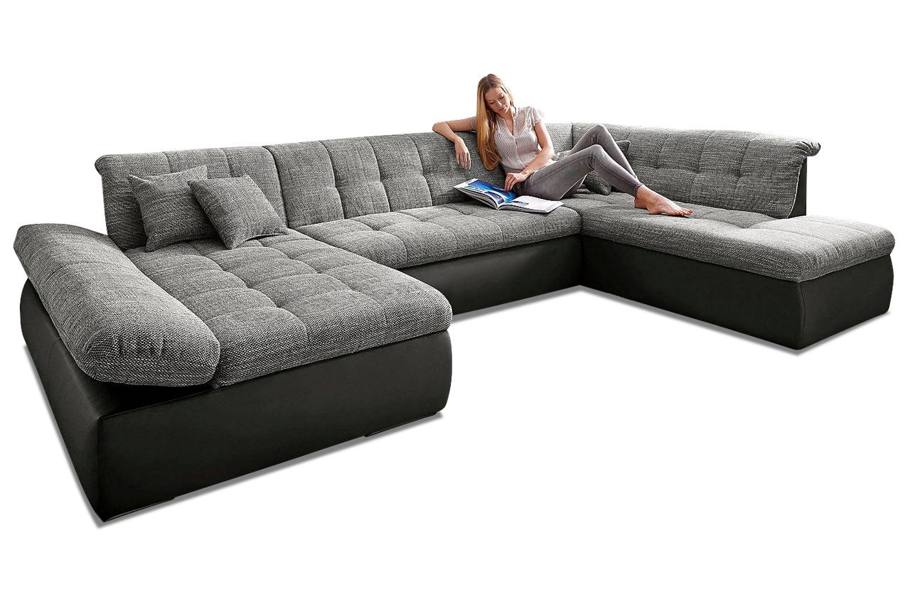 wohnlandschaft moric kis mit schlaffunktion grau. Black Bedroom Furniture Sets. Home Design Ideas