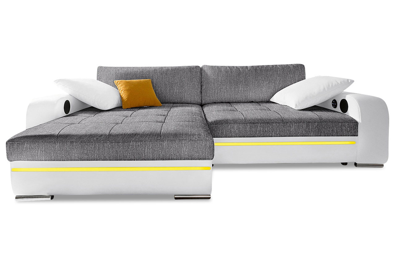 nova via ecksofa heaven mit schlaffunktion und led anthrazit sofa couch e ebay. Black Bedroom Furniture Sets. Home Design Ideas