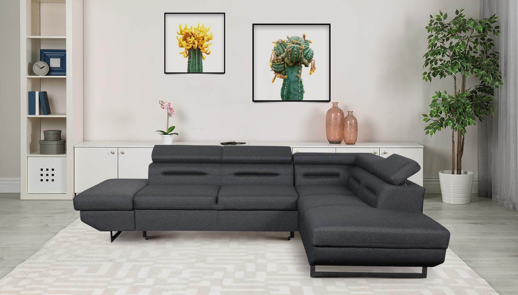 Sofa L Form Dakota P rechts   mit Schlaffunktion   Dunkelgrau