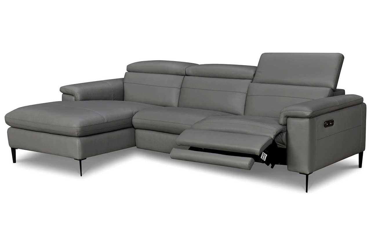 Leder Sofa L-Form links - mit Relax - Grau - Ecksofas ...