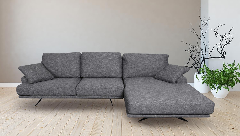 Sofa L Form Dolce  P rechts   Grau