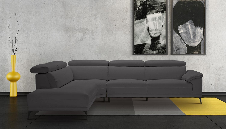Leder Ecksofa XL links - Grau | Sofas zum halben Preis