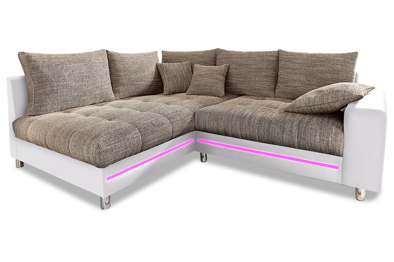 ecksofa xl tobi mit led braun sofas zum halben preis. Black Bedroom Furniture Sets. Home Design Ideas