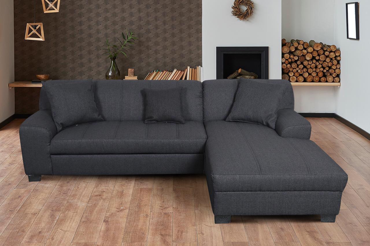 Sofa L Form Emily 10 rechts   mit Schlaffunktion   Asphalt