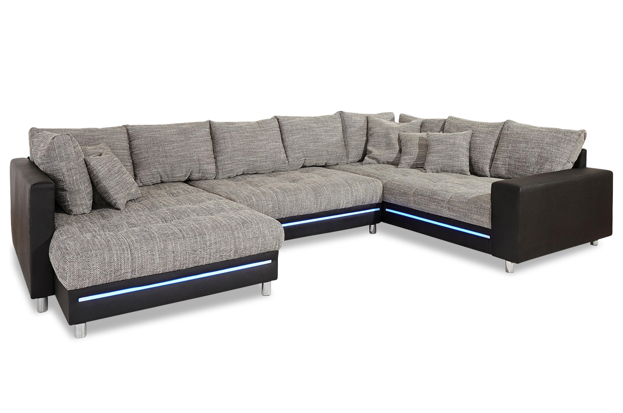 nova via wohnlandschaft tobi mit led anthrazit sofa couch ecksofa ebay. Black Bedroom Furniture Sets. Home Design Ideas