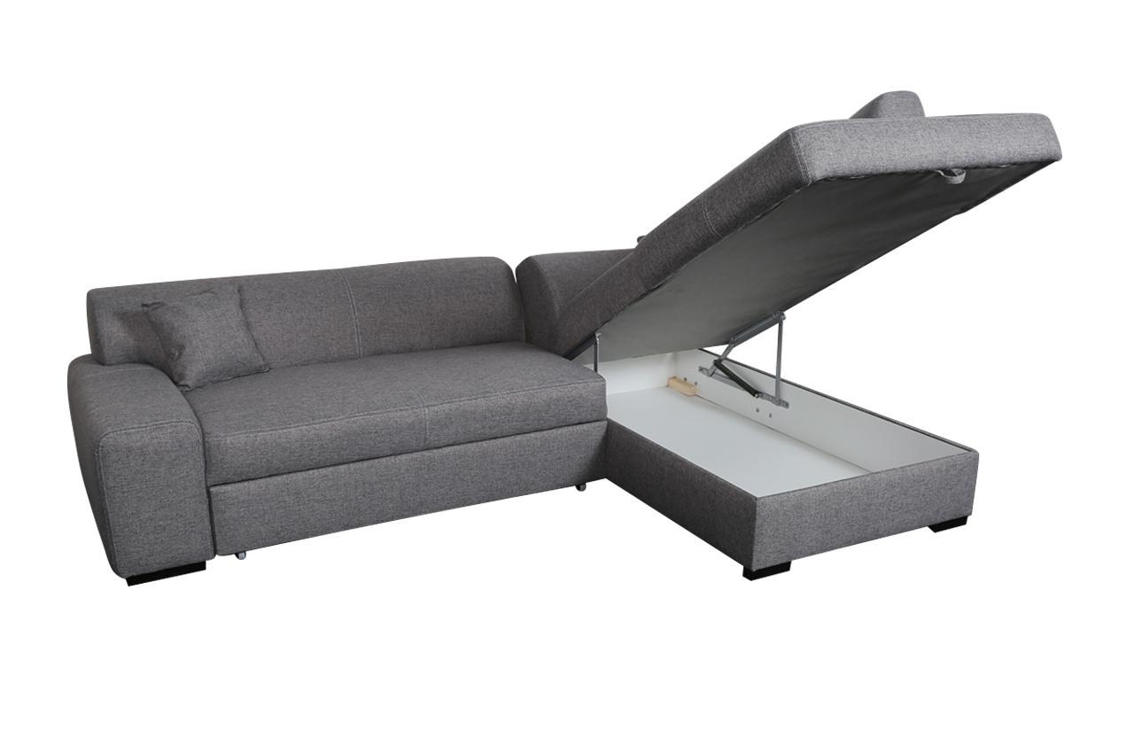 18 Ecksofa XL Minos P rechts   mit Schlaffunktion   Grau   Sofas zum ...