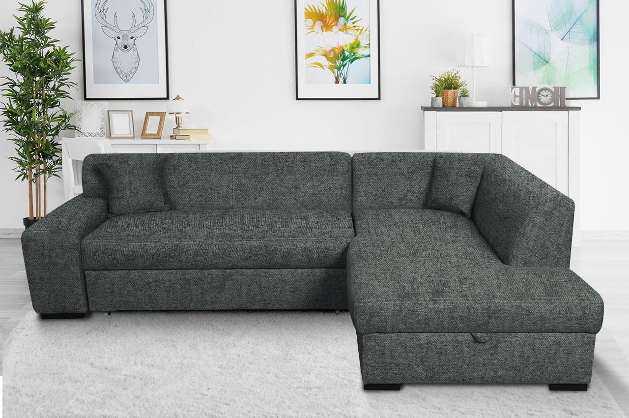 Sofa L Form Minos P rechts   mit Schlaffunktion   Anthrazit ...