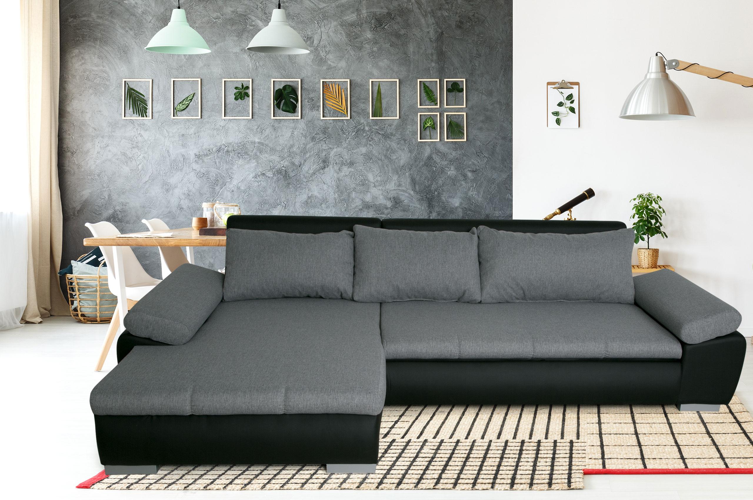 Sofa L Form Karma links   mit Schlaffunktion   Silbergrau