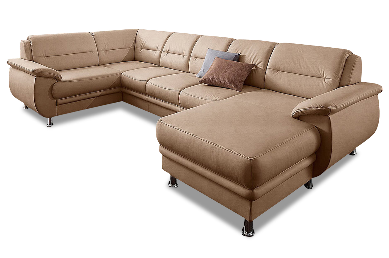 Wohnlandschaft mailand mit schlaffunktion creme sofa for Wohnlandschaft creme
