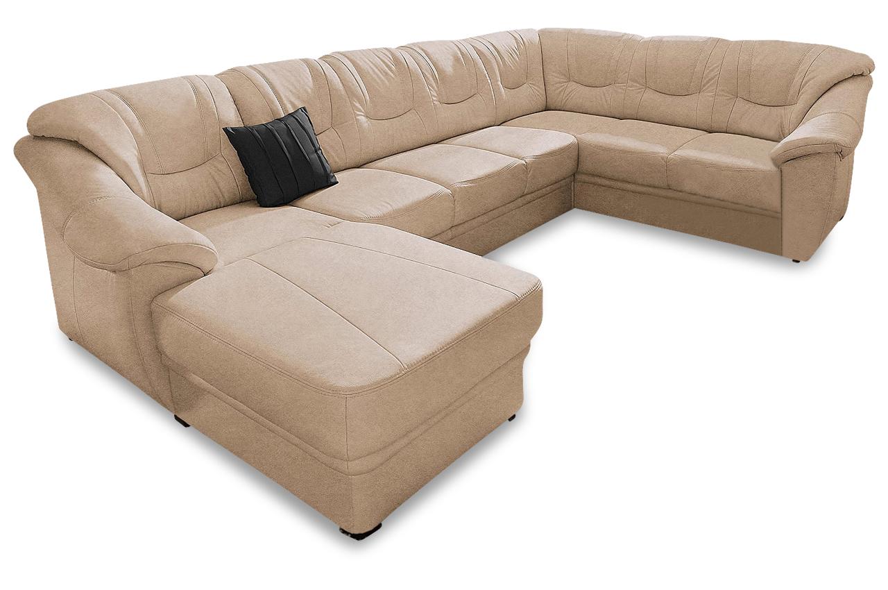 Wohnlandschaft savona creme mit federkern sofa couch for Wohnlandschaft ebay