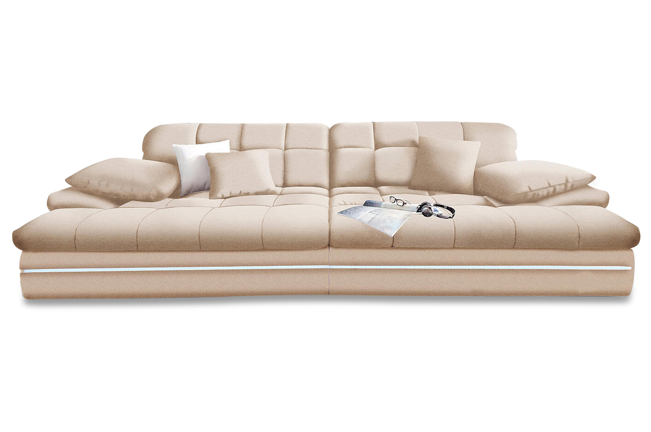 nova via bigsofa biarritz mit led creme sofas zum halben preis. Black Bedroom Furniture Sets. Home Design Ideas
