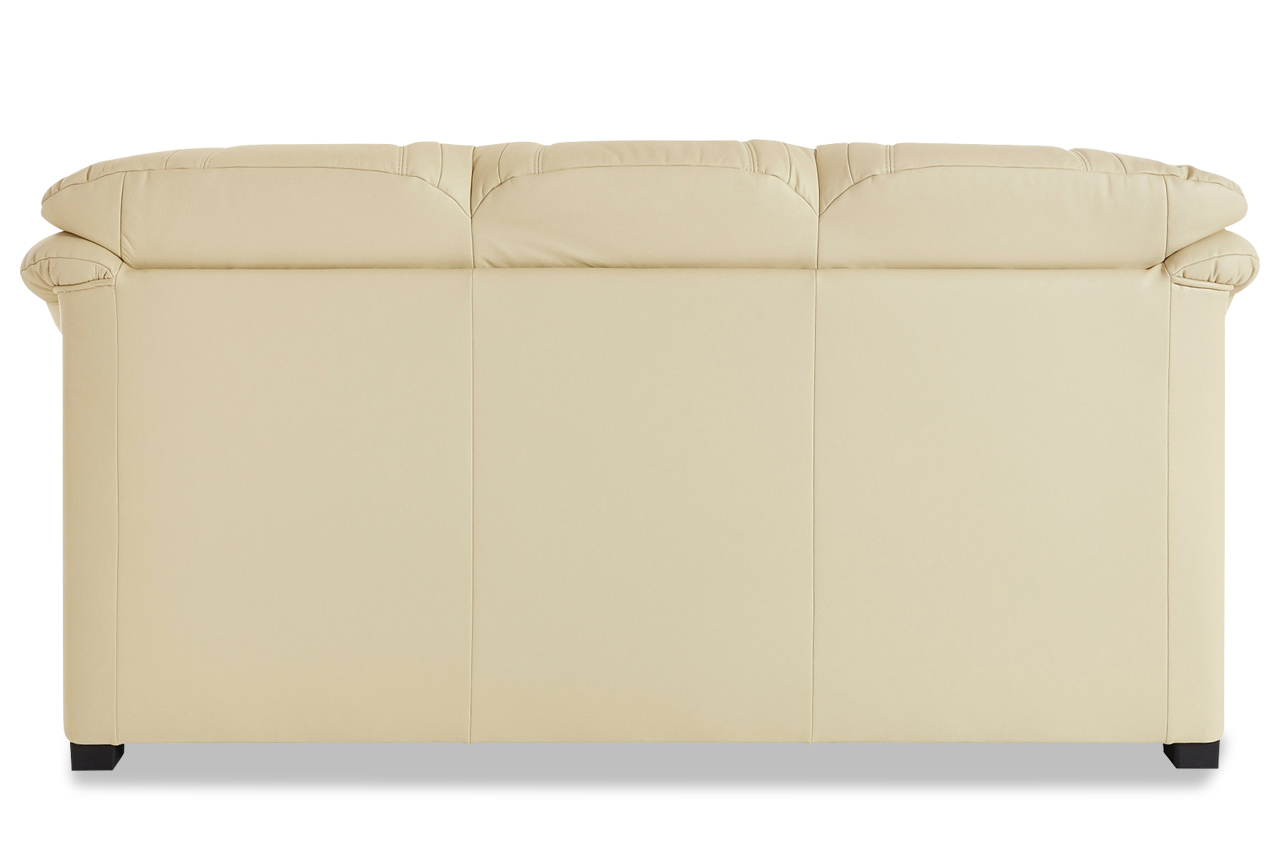 Leder 3er Sofa Creme mit Federkern