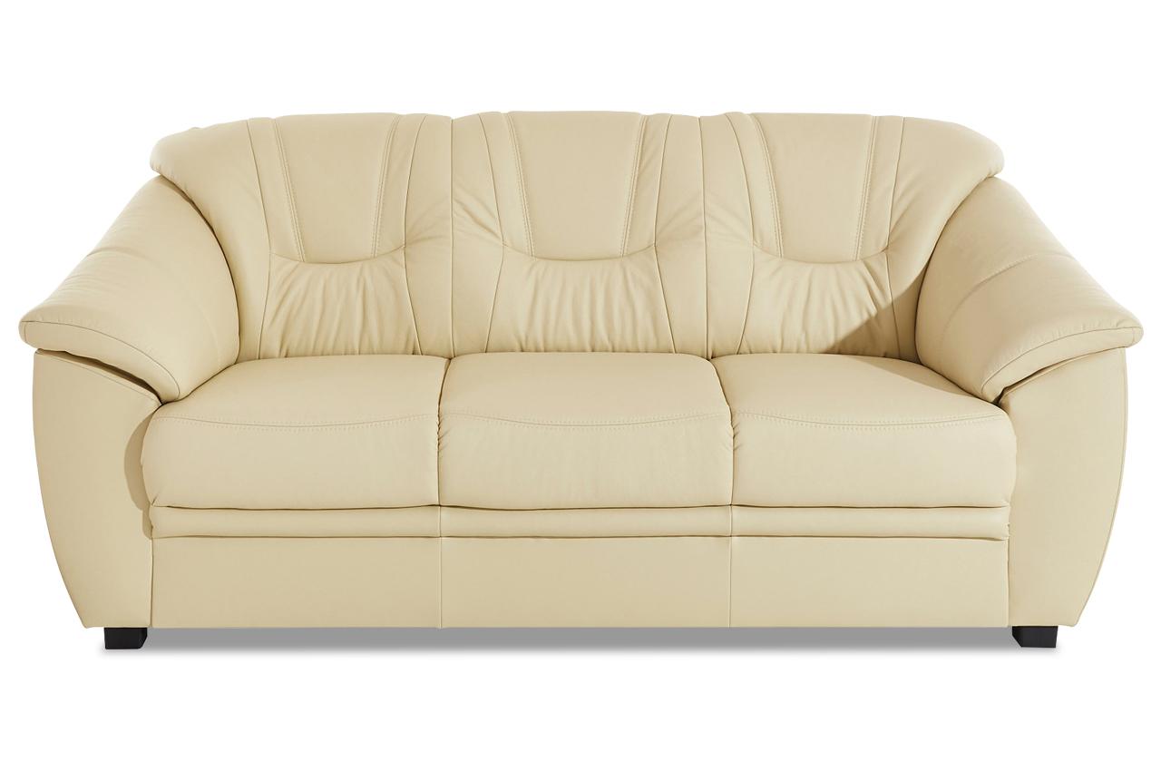 3er sofa mit schlaffunktion creme mit federkern for Couch mit federkern