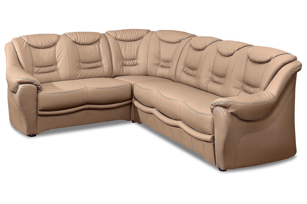 Sofa rundecke  Leder Rundecke Bansin - mit Schlaffunktion - Braun mit Federkern ...