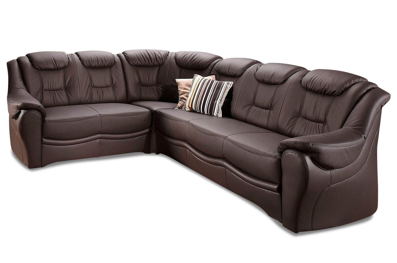 Leder Rundecke Bellevue Mit Schlaffunktion Braun Mit Federkern Sofa Couch Ebay