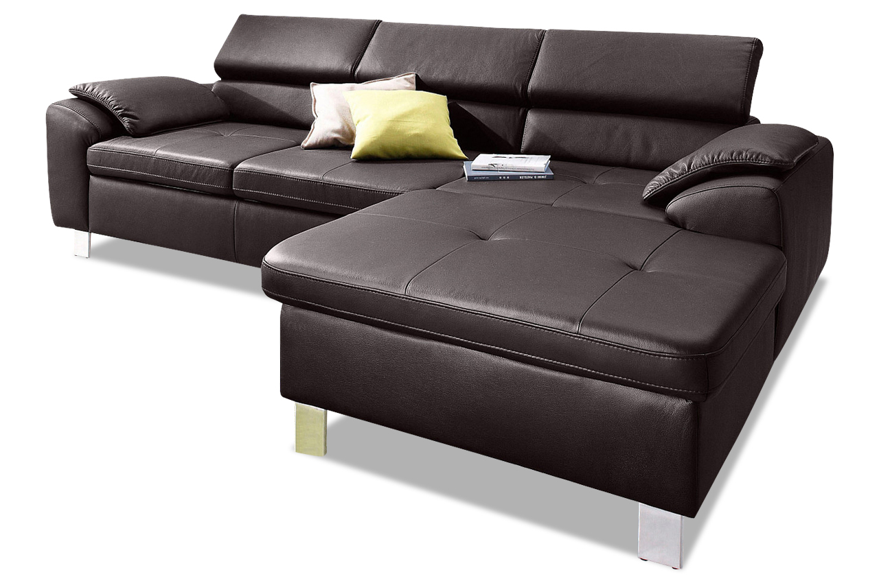 Leder ecksofa hit mit schlaffunktion braun sofa for Leder ecksofa mit bettfunktion