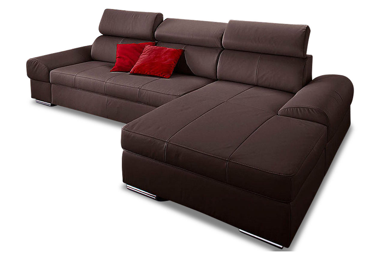 leder ecksofa broadway mit schlaffunktion braun sofas zum halben preis. Black Bedroom Furniture Sets. Home Design Ideas