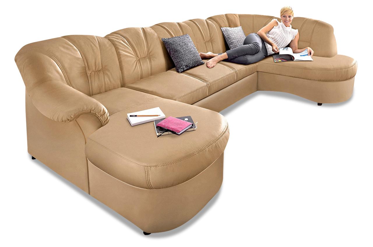 leder wohnlandschaft flores mit schlaffunktion creme sofas zum halben preis. Black Bedroom Furniture Sets. Home Design Ideas