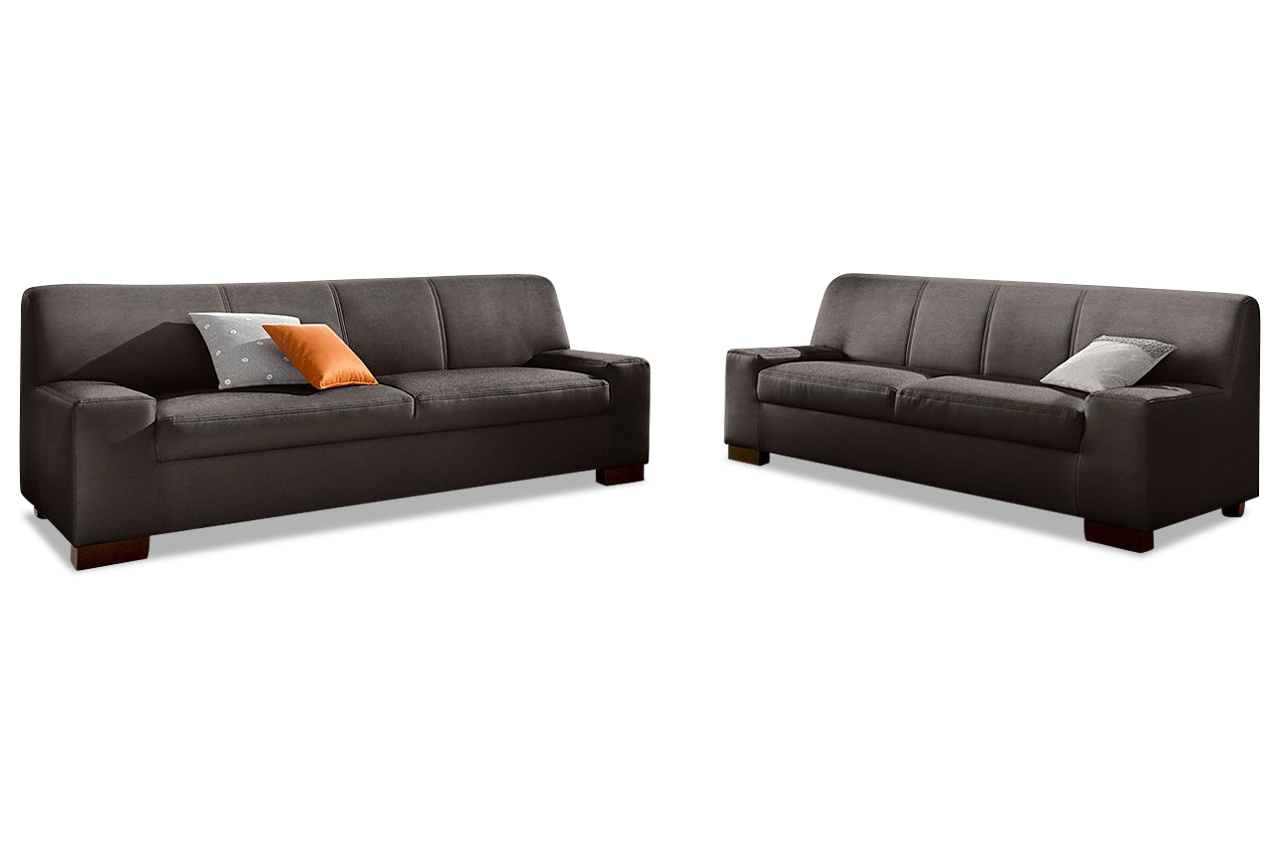 leder garnitur 3 2 norma braun echt leder sofa couch ebay. Black Bedroom Furniture Sets. Home Design Ideas