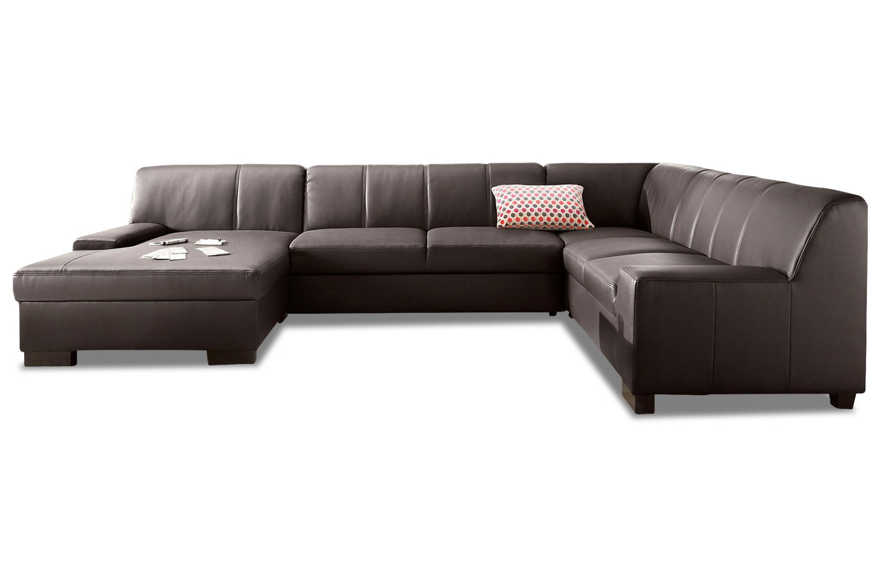 leder wohnlandschaft norma braun sofa couch ecksofa ebay. Black Bedroom Furniture Sets. Home Design Ideas