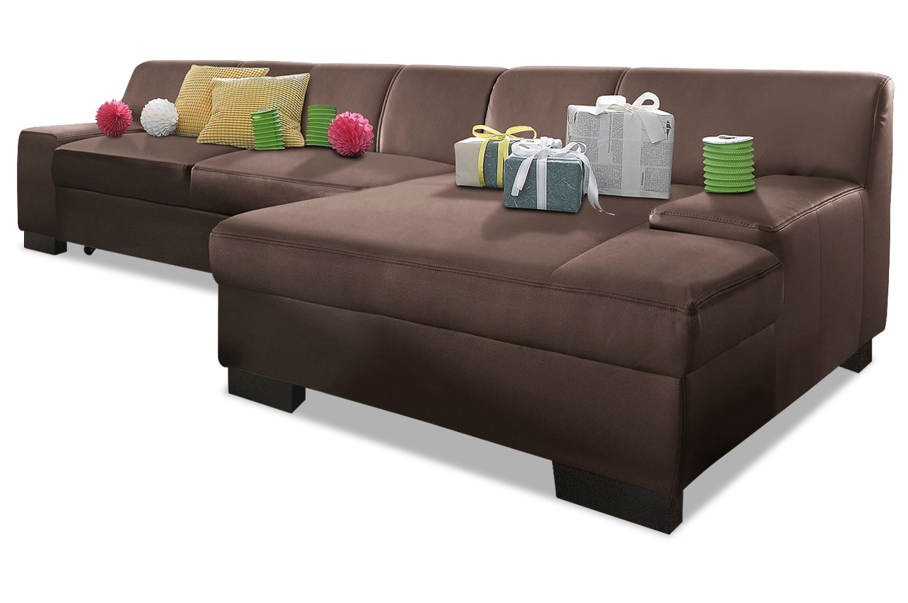 leder ecksofa norma mit schlaffunktion braun sofa couch ecksofa ebay. Black Bedroom Furniture Sets. Home Design Ideas