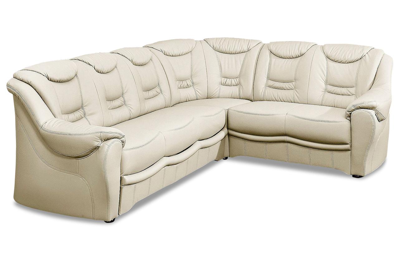 leder rundecke mit schlaffunktion creme mit federkern sofas zum halben preis. Black Bedroom Furniture Sets. Home Design Ideas