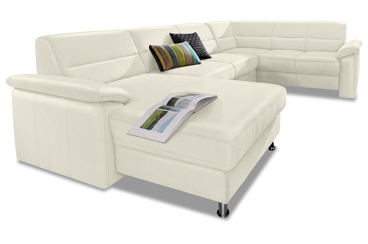 premium leder wohnlandschaft alice mit schlaffunktion weiss mit federkern sofas zum halben. Black Bedroom Furniture Sets. Home Design Ideas