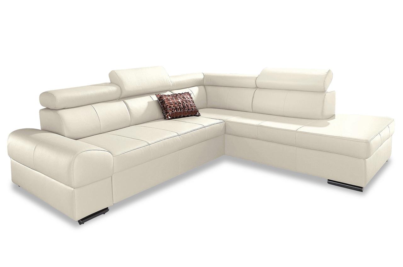 leder ecksofa xl broadway mit schlaffunktion creme sofas zum halben preis. Black Bedroom Furniture Sets. Home Design Ideas