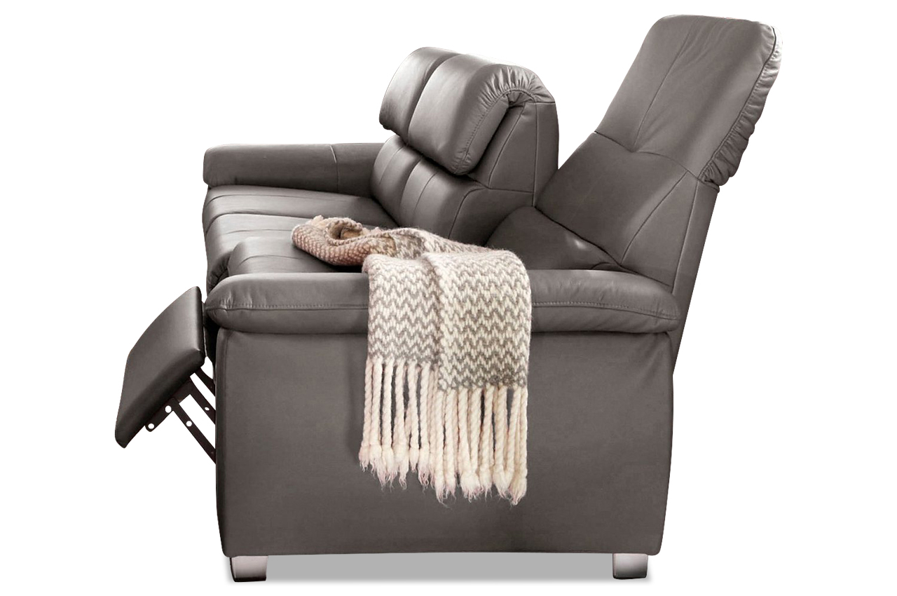 leder 3er sofa mit relax grau sofas zum halben preis. Black Bedroom Furniture Sets. Home Design Ideas
