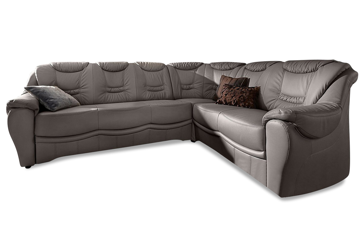 leder rundecke grau mit federkern sofas zum halben preis. Black Bedroom Furniture Sets. Home Design Ideas