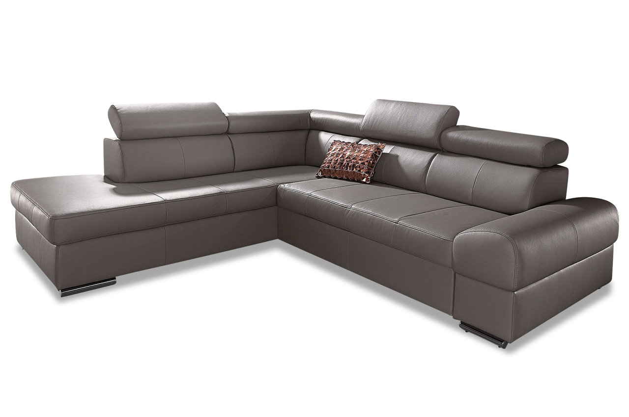 leder ecksofa xl broadway mit schlaffunktion grau sofas zum. Black Bedroom Furniture Sets. Home Design Ideas