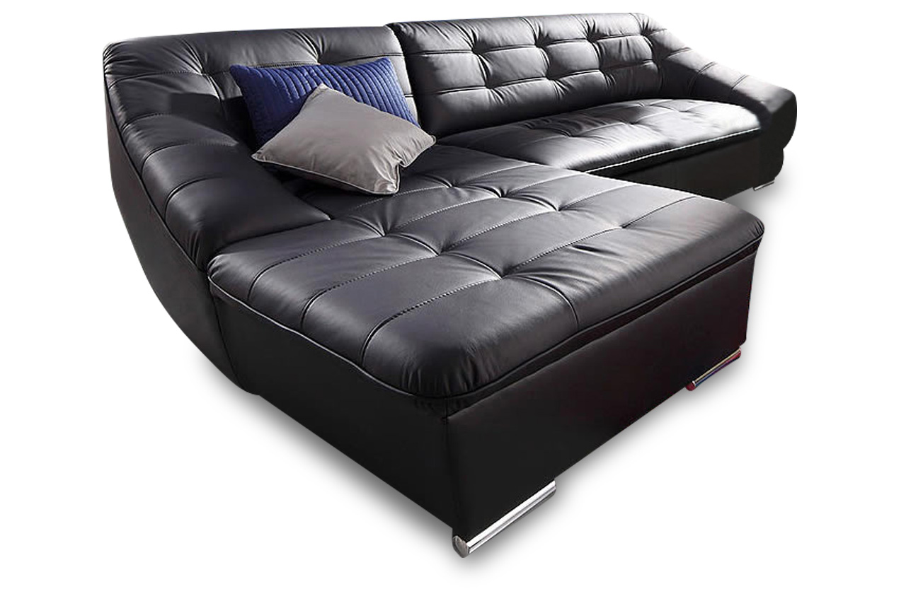leder ecksofa luca schwarz sofas zum halben preis. Black Bedroom Furniture Sets. Home Design Ideas