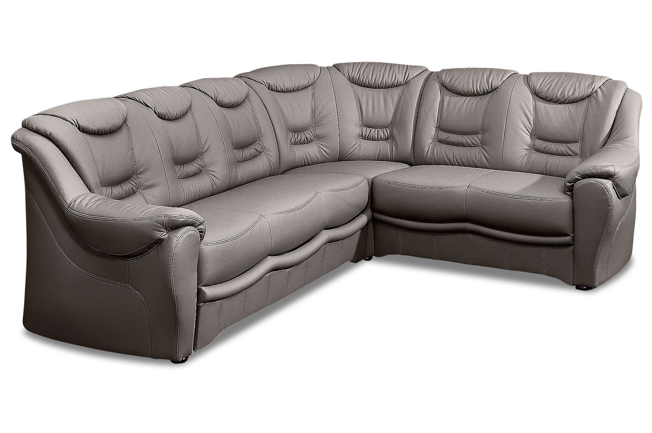 leder rundecke bellevue grau mit federkern sofas zum halben preis. Black Bedroom Furniture Sets. Home Design Ideas