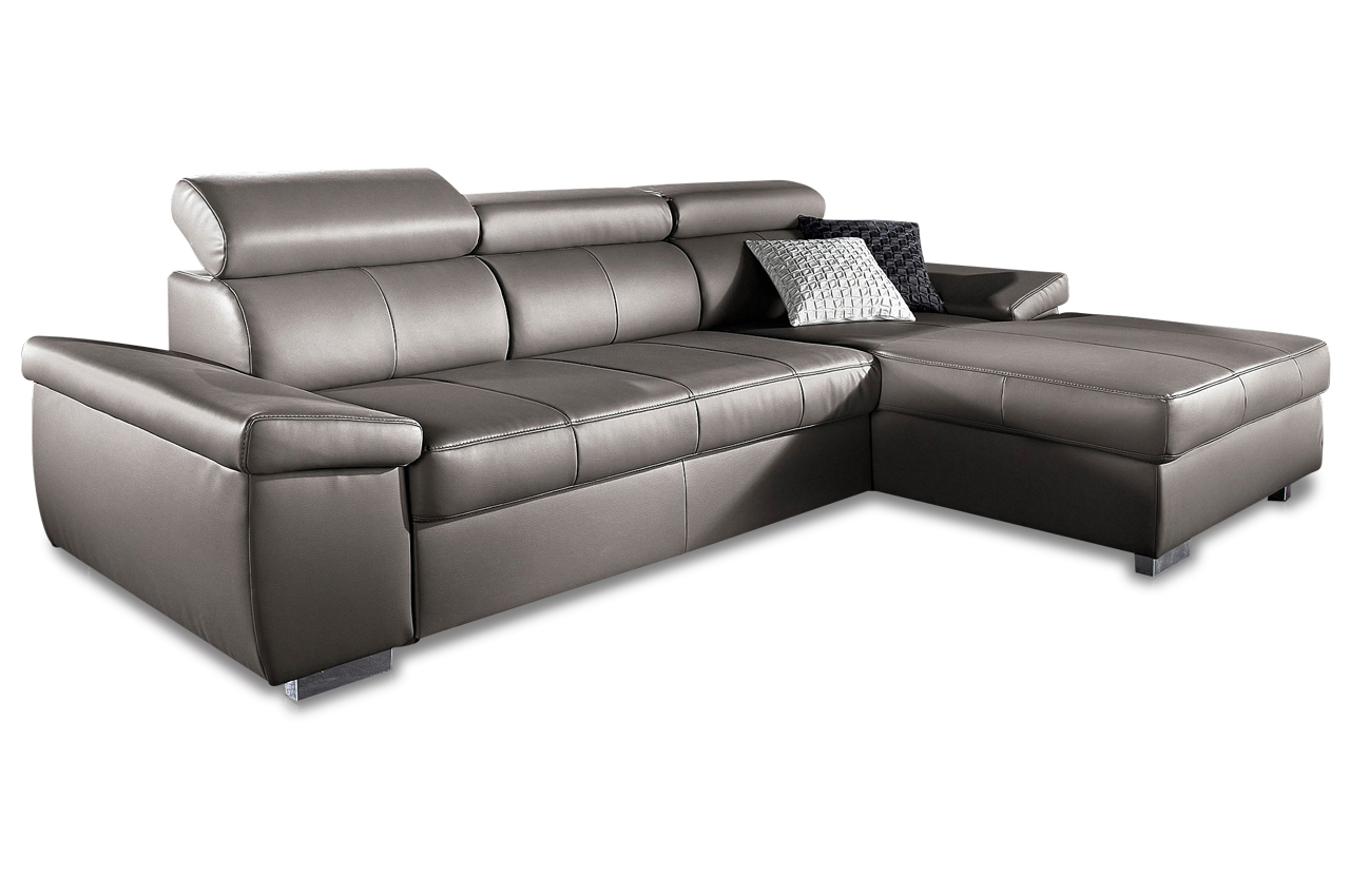 Sit more leder ecksofa catwalk mit schlaffunktion for Ecksofa leder grau
