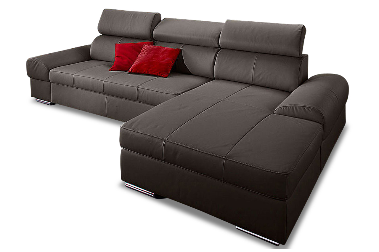 leder ecksofa broadway mit schlaffunktion grau sofas zum halben preis. Black Bedroom Furniture Sets. Home Design Ideas