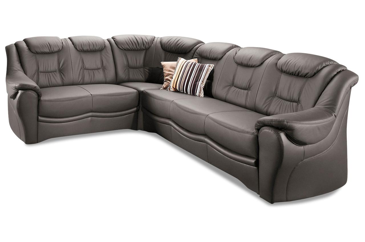 Leder rundecke bellevue grau mit federkern sofa couch for Ecksofa leder federkern