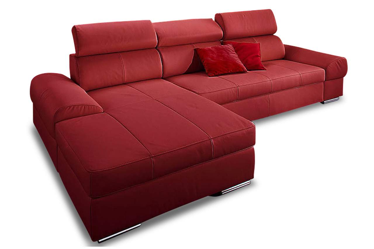 leder ecksofa broadway mit schlaffunktion rot sofas zum halben preis. Black Bedroom Furniture Sets. Home Design Ideas
