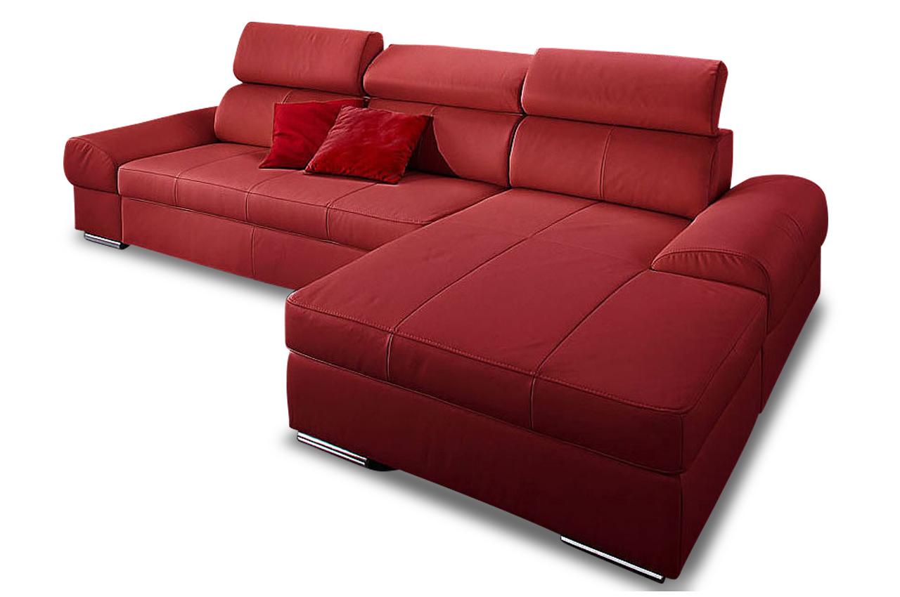 premium leder ecksofa runway mit schlaffunktion rot. Black Bedroom Furniture Sets. Home Design Ideas