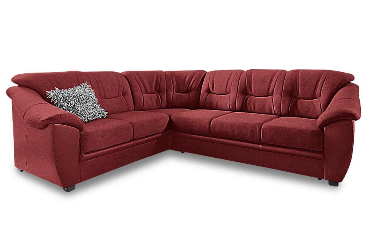 Leder Rundecke Savona Rot Mit Federkern Sofa Couch Ecksofa Ebay