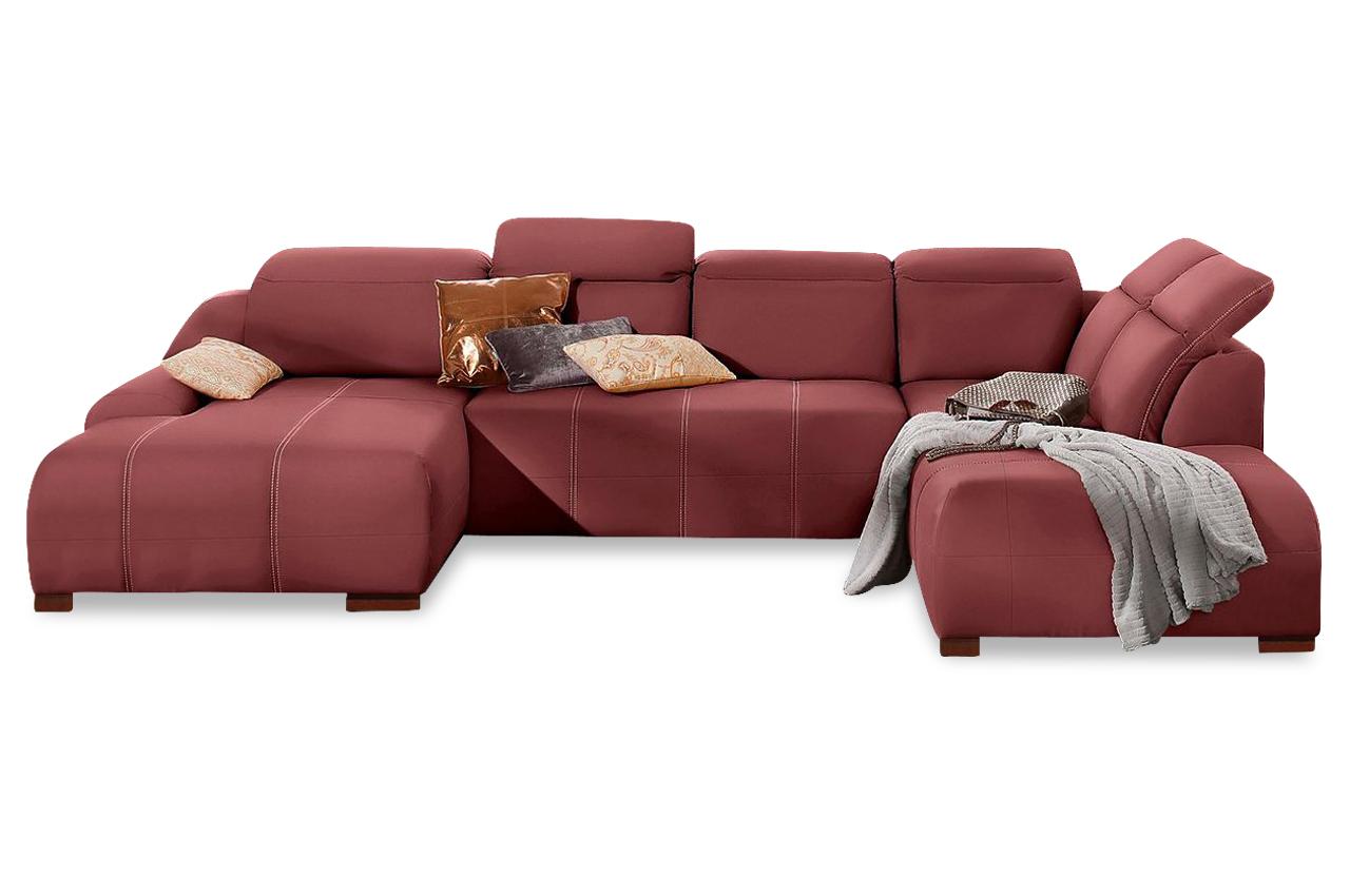 leder wohnlandschaft rot mit federkern sofas zum halben preis. Black Bedroom Furniture Sets. Home Design Ideas