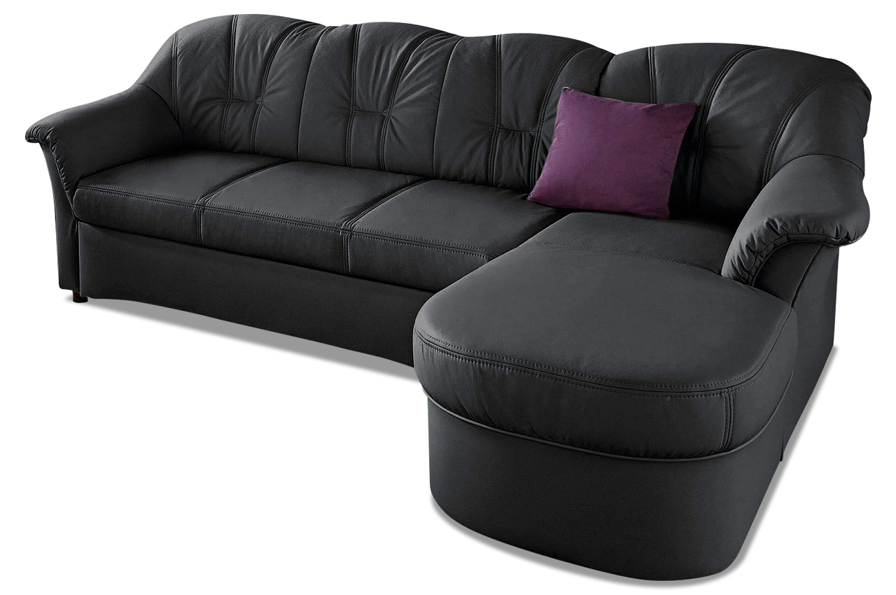 leder ecksofa flores mit schlaffunktion schwarz. Black Bedroom Furniture Sets. Home Design Ideas