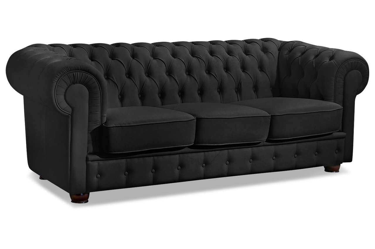 max winzer leder 3er sofa windsor schwarz sofas zum halben preis. Black Bedroom Furniture Sets. Home Design Ideas